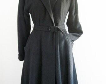 Long Black Wool Mid Calf Warm Vintage Coat Dressy Winter Coat Vintage Forstmann Belted Wrap Coat 1940s Fashioned by Rauch