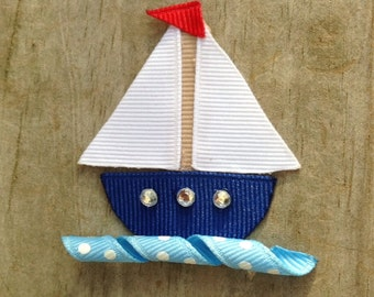 Sailboat Hair Clip, Sailboat Ribbon Sculpture Hair Clip, Navy, White, and Red Nautical Hair Clip, Toddler Hair Clip, FREE SHIPPING PROMO
