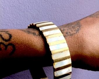 Vintage  Brass & Abalone Bangle Bracelet