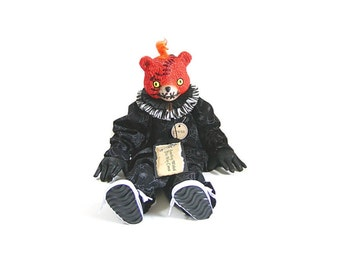 Bear Doll, Freak Doll, Halloween, Gothic, Teddy Bear, Black and White, Spider, Orange, Halloween Decoration, Scary, Doll, Prop, Folk Art