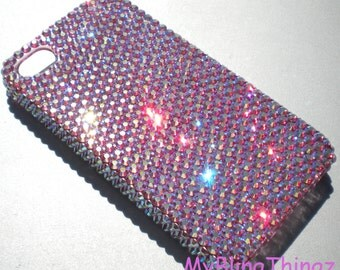 Iridescent Pink Rose AB - Aurora Borealis - Crystal Diamond Rhinestone BLING Back Case for iPhone 4 4S handmade with 100% Swarovski Elements