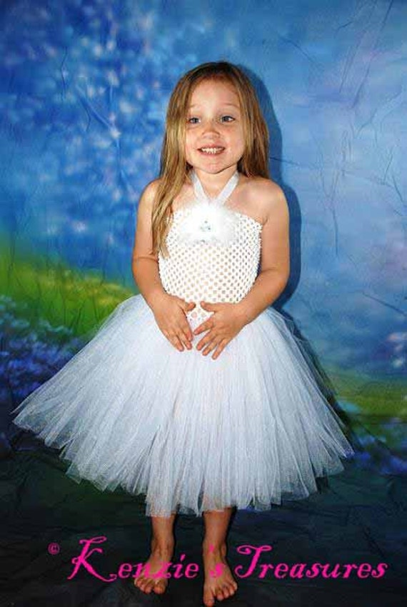 Flower Girl Crochet Tutu Halter Dress - Size 2T to Girl's Size 6- Can Be Worn Different Ways