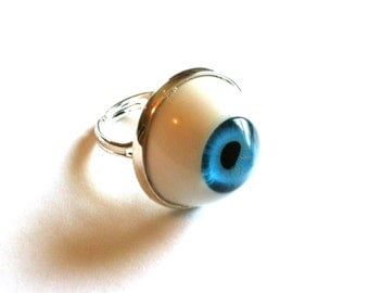 Blue Eye Ring - Charm - Pendant - Steampumk - Blue, Brown Eye - Gifts Under 10, 15, 20