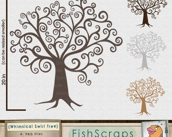 Digital Tree ClipArt, DIY Family Tree Clip Art, Whimsical Wish Tree Silhouette, Digital Download, Swirly Finger Print Tree Printable Graphic