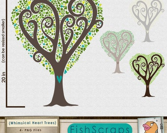 Heart Tree ClipArt, Printable Digital Image Download, Love Tree Clip Art for Commercial Use, Create Cards, Invites and DIY Prints