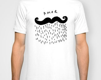 Hand Printed Amor UNISEX T-shirt hand printed by Emilythepemily.