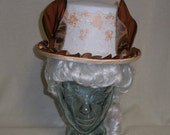 Top Hat with Ears- White, Peach and Copper