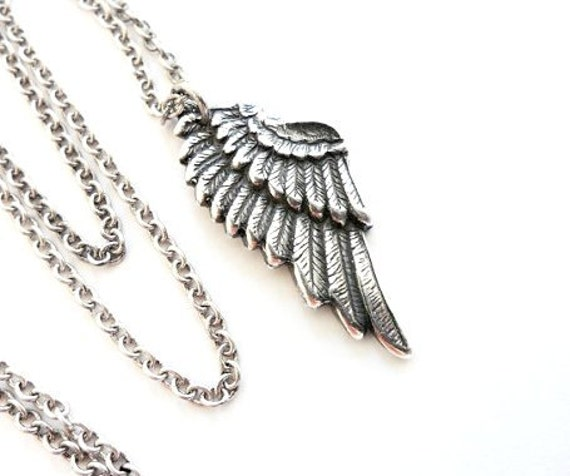 Angel Wing Necklace- Sterling Silver Ox Finish