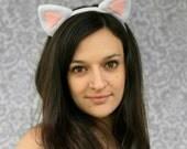 White Kitty Cat Ears Headband