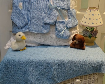 Baby blue layette set, blanket, hat, sweater and booties, sized for 12 to 18 months with  rattle applique