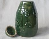 Tall Lidded Storage Jar Urn Green