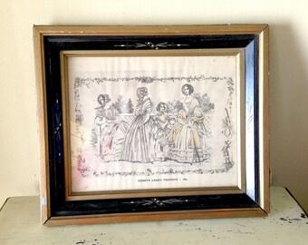 Antique Victorian Print Godey Ladies Fashion Frame Black Gold Glass