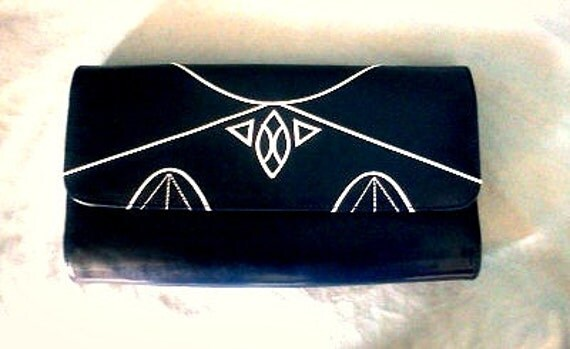 Navy Art Deco clutch/ shoulder bag
