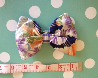 Hand made hair bow, shabby chic vintage floral, bow, tulle stuffed, large, Rockabilly