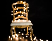 Still life photo, Chair, golden bokeh lights, Fine Art Photo, Black and Gold, Modern Home Decor, Surreal Art, Fine Art Print, Wall Art