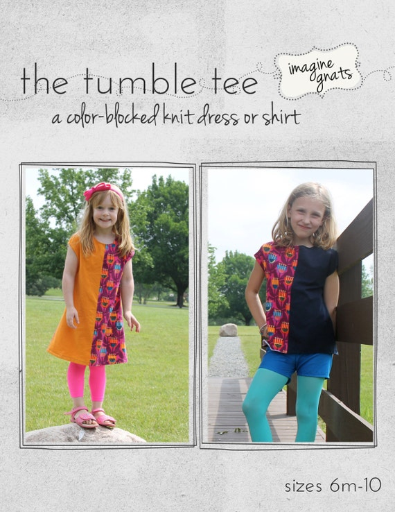 the tumble tee, a color-blocked knit dress or shirt