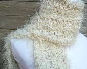 reserved for Carol Hand knitted Scarf  Cream Scarf  Winter Fashion OOAK