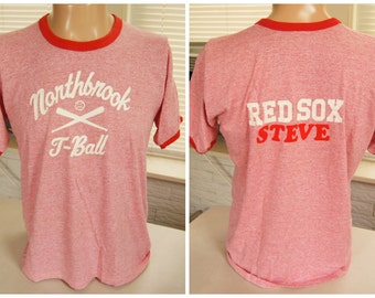"""TRi BLEND RAYoN T SHiRT (vintage) Northbrook T Ball Ringer (45 inches around chest) triblend """"Steve is Fuzzy Red Letters"""""""