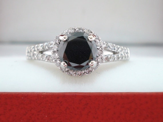 1.42 Carat Fancy Black & White Diamond Engagement Ring 14K White Gold Halo Handmade Bridal Ring