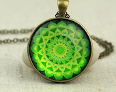 Green Heart Chakra Healing Mandala Necklace, Domed Glass Pendant Necklace