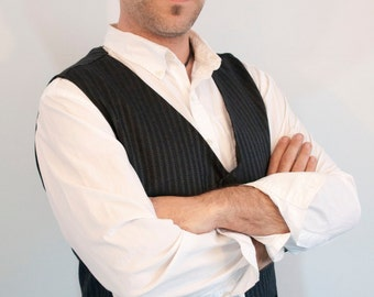 Mens Vest classic charcoal with lighter grey stripe vest