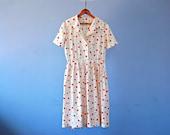 1950s Day Dress Polka Dot Shirtwaist Dress 50s Housewife Dress Vintage Shirt Waist Summer Shirtdress Red Green Yellow White Medium