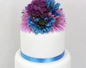 Wedding Cake Topper-  Aqua, Purple Gerbera, Hydrangea Silk Flower Wedding Cake Topper