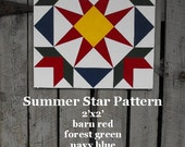 Painted Wood Barn Quilt, Summer Star Pattern