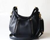 SALE Blue Leather handbag purse - OPELLE Baby Ballet Bag - Soft Pebbled Leather w Zipper Pockets in Mariner