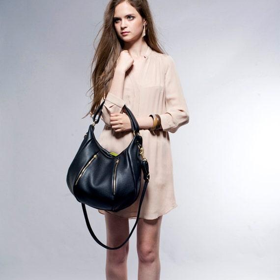 SALE Leather Handbag Purse - OPELLE Ballet Bag - Large Size in Black Pebbled Leather