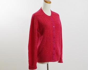 Vintage Wool Sweater, Berry Pink Knit Cardigan, Wool Cardigan, Winter Sweater, Button Down Sweater, Scottish Wool Sweater, Medium Large