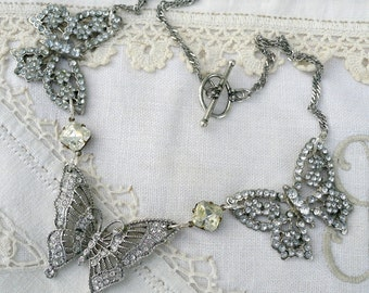 Butterfly Kisses, Vintage Rhinestones Butterfly Altered Brooch Assemblage Necklace