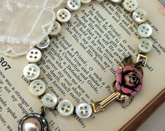 Cottage Roses and Baby Pearl Buttons, Tiny Vintage Pearl Button, Enamel Rose and Rhinestone Bracelet