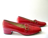 1960s Loafers / 60s shoes / flats / nautical shoes / mod shoes /  patent leather shoes / low heel  / Enna Jetticks / size 9