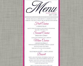 Elegant Wedding Menu Card In ANY Color Scheme