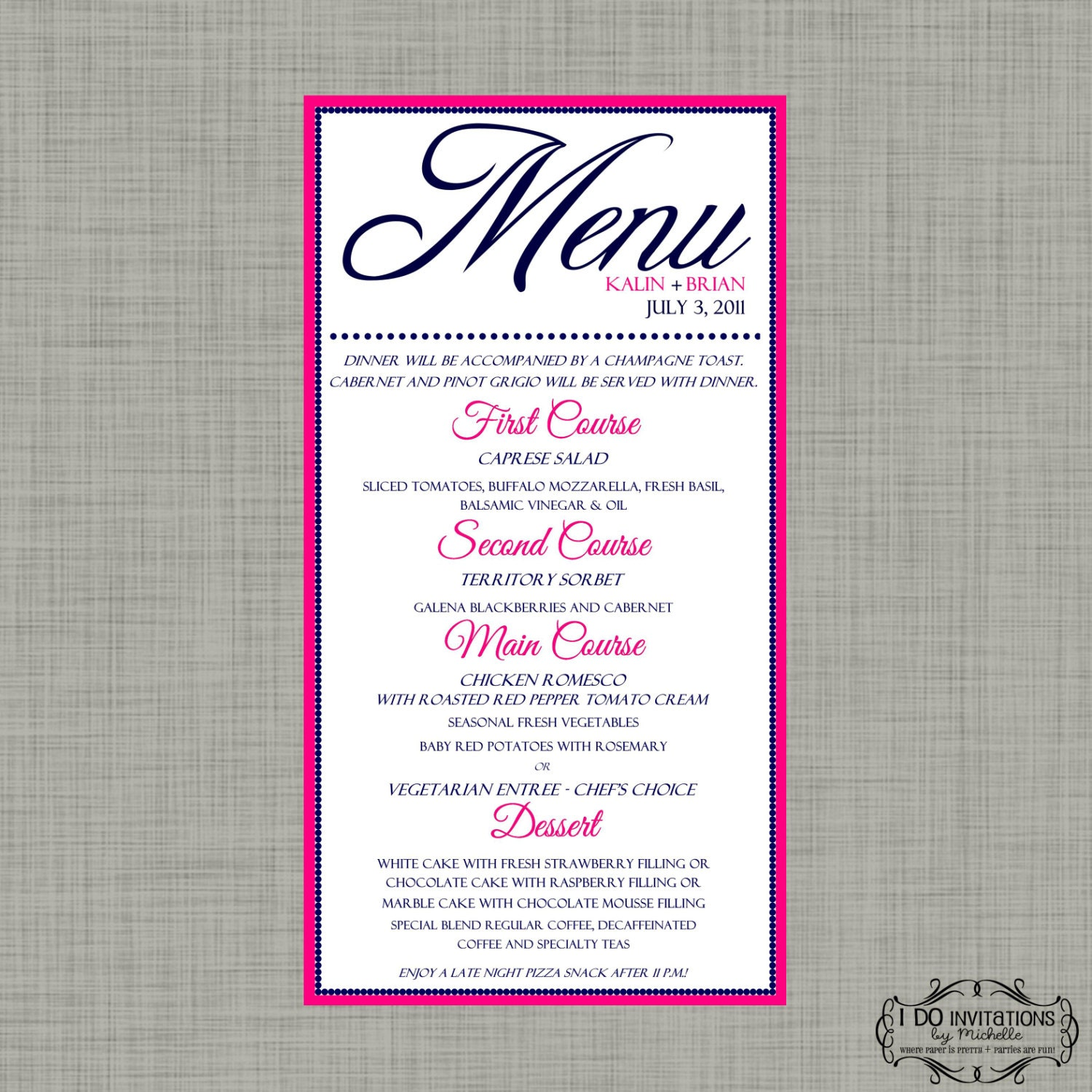 how to make a simple menu card