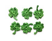 Lucky clover leaves applique - crochet leaves embellishment - Spring decorations - green leaves - St. Patricks day decorations - set of 6