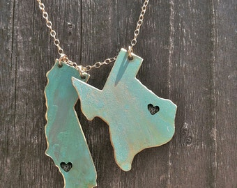 I Left my Heart in 2 States Patina Necklace