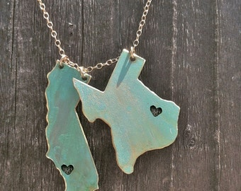 I Left my Heart in 2 States Necklace, long distance love,turquoise,wedding,engagement, graduation,gift idea,christmas present, two states