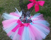 PRETTY PONY-My Little Pony inspired Aqua, Hot Pink, tutu with hairbow:  Newborn-5T