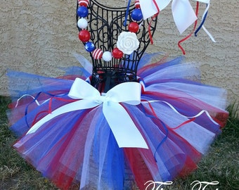 LITTLE SPARKLER- Red, White, and Blue, patriotic tutu with hairbow:  Newborn-5T