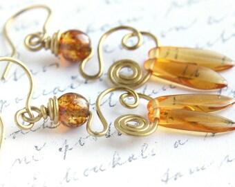 Honey Drop Earrings, Wire Wrapped Earrings, Dangle Earrings, Hand Forged Earrings, Boho Earthy Rustic Tribal Beach, gift for woman