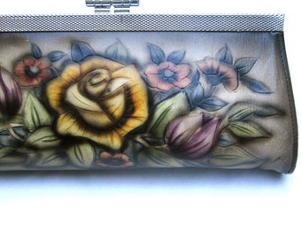 Vintage Clutch Tooled Style Purse Flower Bag Tooled Handbag Wedding Bag Wedding Purse with Roses Flowers Wedding Yellow Red Retro Tattoo