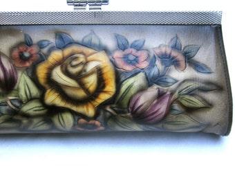 Vintage Clutch Wedding Bag Wedding Purse with Roses Flowers Wedding Yellow Red Retro Tattoo