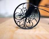 Black Art Nouveau Squid Necklace