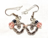 From USA Peachie Pink Heart Dangle Drop Earrings - Surgical Steel French Hooks