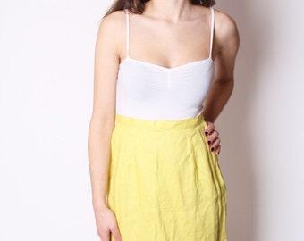 Yellow Vintage 60s Cotton Cutout Floral Hem Skirt / Vintage Skirt / Yellow Skirts / Yellow Cotton Skirt / 1963