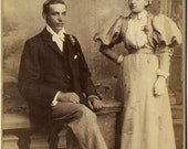 SALE - Antique Cabinet Card Photo - Young Couple late 1890s