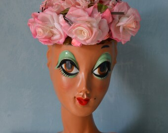 Vintage 50s Pastel Pink Garden Floral Pill Box Hat Free Shipping US