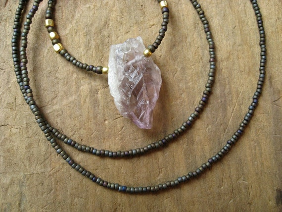 RESERVED for Sheila... Rough Amethyst Necklace, rustic beaded necklace with raw amethyst crystal and antiqued brass